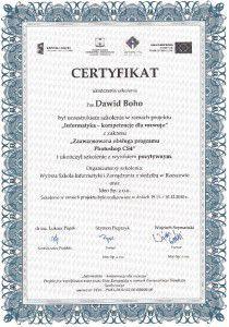 Certyfikat Adobe Photoshop CS4 - ,, Zaawansowana obsługa programu Photoshop CS4''.