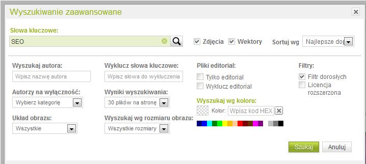Wyszukiwanie zdjęć - zaawansowane