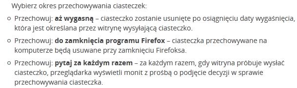 Okres przechowywania ciasteczek - opcje firefox