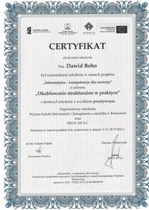 Certyfikat - Okablowanie strukturalne