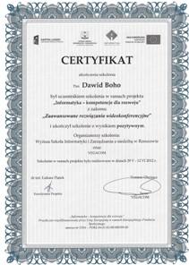 Certyfikat - Wideokonferencje
