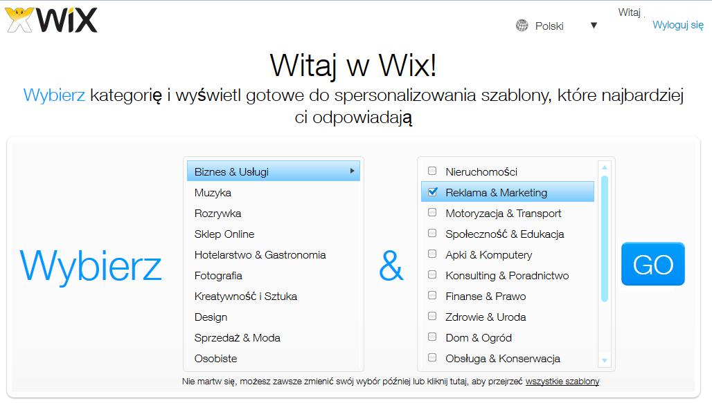 Wybór szablonów - Wix.com