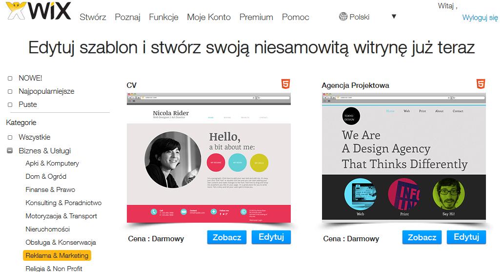 Wybór Szablonu - Wix.com