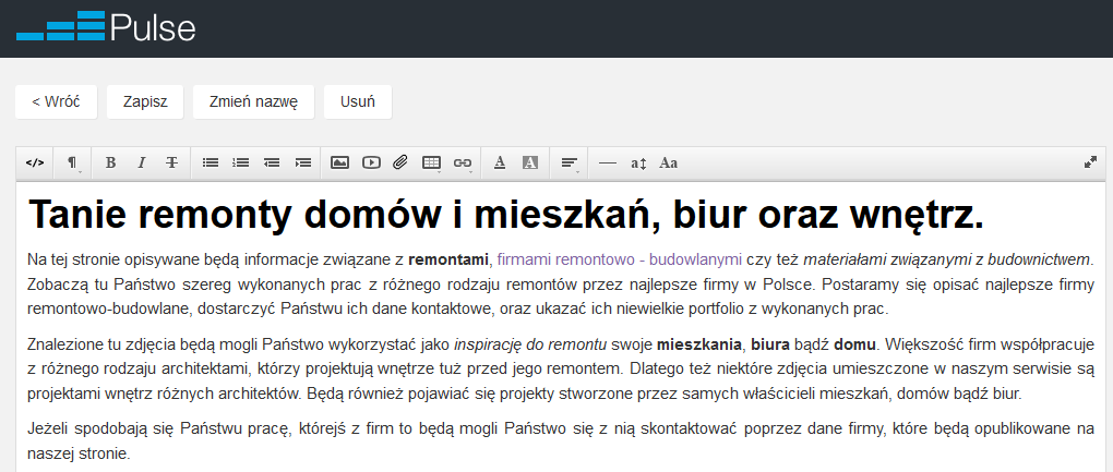 Edycja Bloku / Podstrony