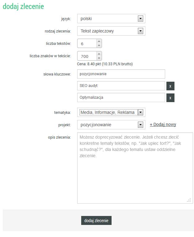Dodatkowe pole w trakcie zamówienia tekstu zapleczowego