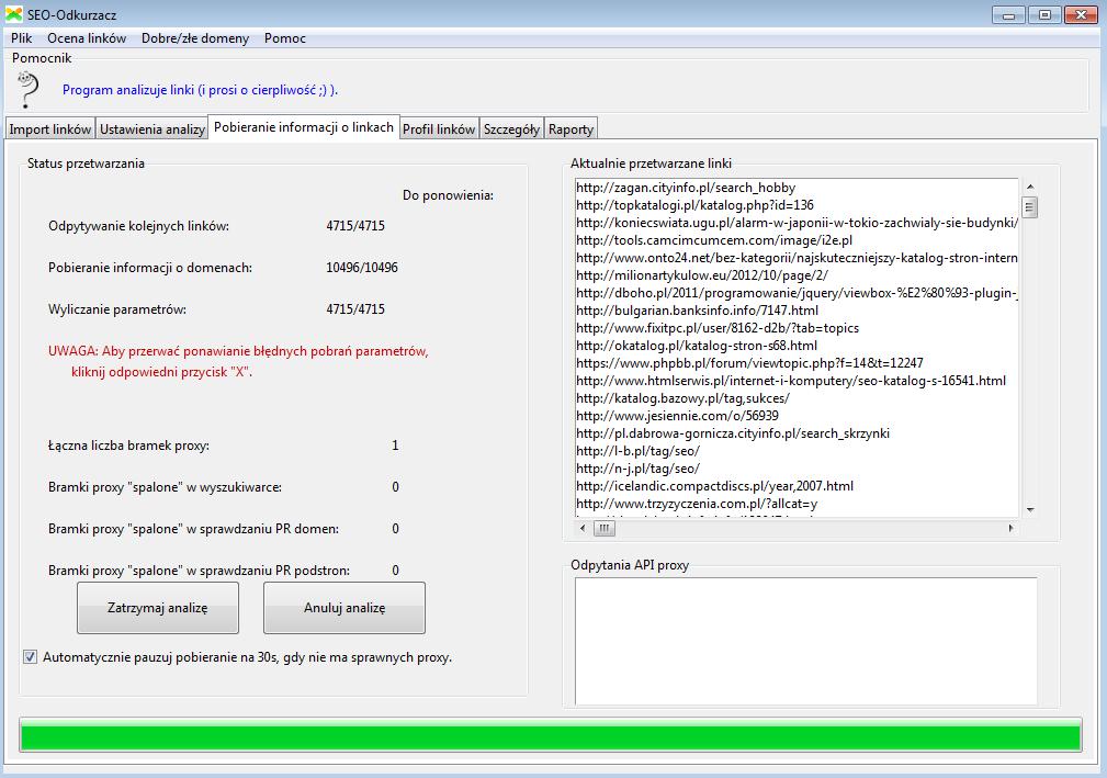 Zakładka w której program pobiera informacje o linkach